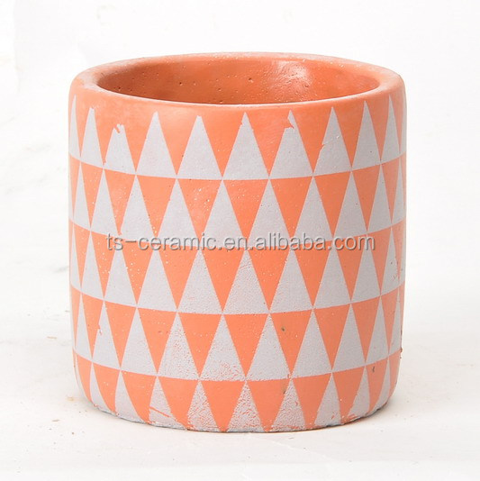 Indoor and outdoor wholesales decal cement planter concrete flower pots and candle holder