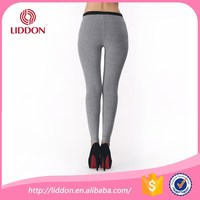 Custom stretch cotton fabric plain women high waist leggings