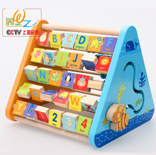2016 new design wooden table Preschool children's educational toys wooden toys five-face learning frame alphabet digital flap