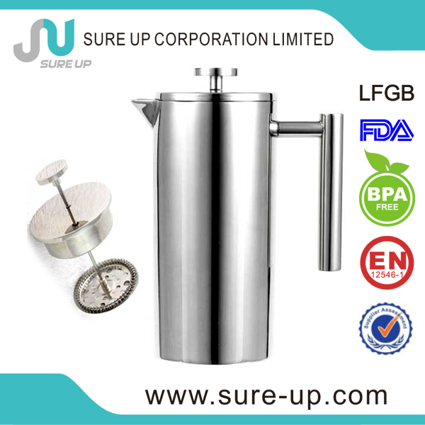 Traditional and classic design double walled good quality stainless steel coffee press (OSUN)