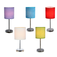Simple Designs Chrome Mini Basic Table Lamp Bedside Lamp with Fabric Shade