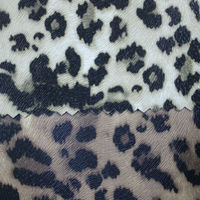 Raised fabric backing leopard printed PVC artificial leather T9166