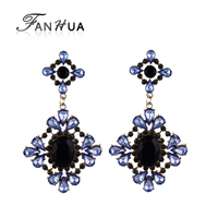 Luxury Colorful Rhinestone And Blue Created Gemstone Flower Dangle Earrings for Women