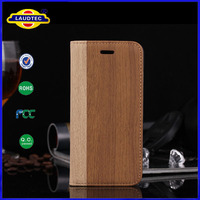 Wood pattern leather wallet cover case stand for iPhone 6 Laudtec