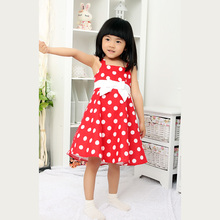 Red baby cotton frock girls polka dots dress