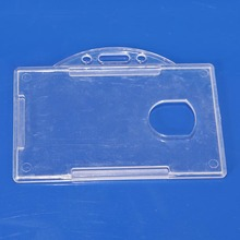 Plastic ID Card Holder Clear Badge Cover Transparent Horizontal Travel Card ID Badge Holders