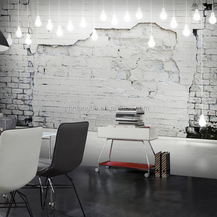3d Brick Wallpaper Mural White <strong>Walls</strong> and Wallpaper Pattern Retro Nostalgia Brick Cafe Living Room TV Backdrop Wallpaper