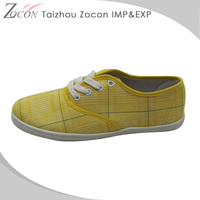 Lace-Up Factory Made Latest High Quality Yellow Low Price Canvas Shoes
