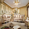 European Gold Foil Decorated Saloon Sofa Furniture For Luxury Villa