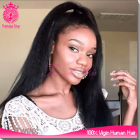 accept paypal coarse yaki full lace wig brazilian virgin hair kinky straight wig