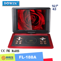 manufacture wholesale guality cheap flat screen Large Screen 14 inch Game Portable DVD Player with TV for Family Entertainment