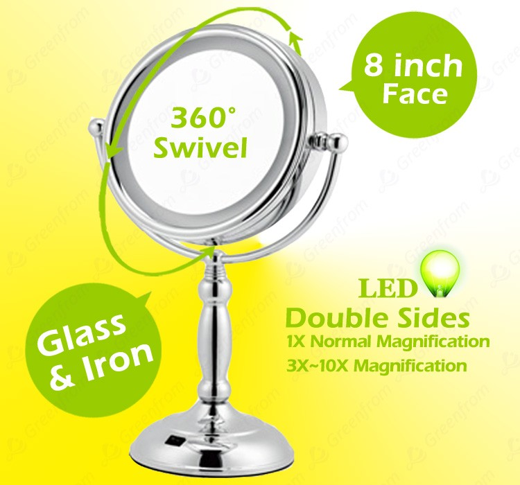 Double vision beauty magnifying makeup mirror with light