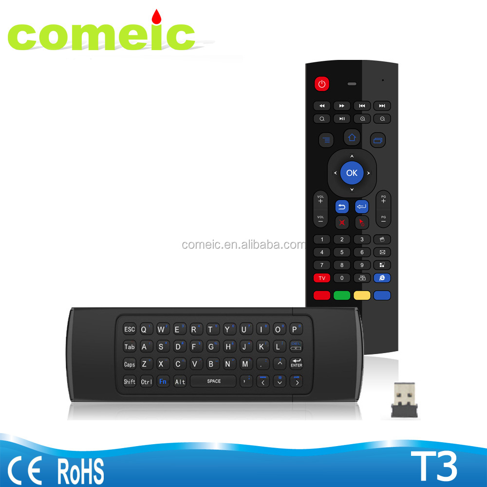 T3 2.4g air mouse for android tv box remote controller with keyboard air fly mouse