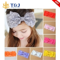 >>>>2016 Hot Sale Fashion Cute Colorful Bowknot Hair Bow Lace Baby Headbands For Girls