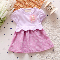summer girls mini short sleeve O-neck baby frock sundress two color printed rajasthani kids dresses