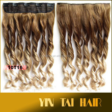 60cm Multi-colors two tone ombre hair extensions high temperature fiber synthetic clip in hair with 5 clips blonde +light blonde