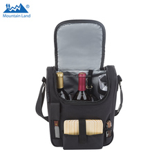 Insulated Travel Wine Tote Bag: Portable 2 Bottle Wine and Cheese Waterproof Black Canvas Carrier Bag Set with Picnic Kit - Cork