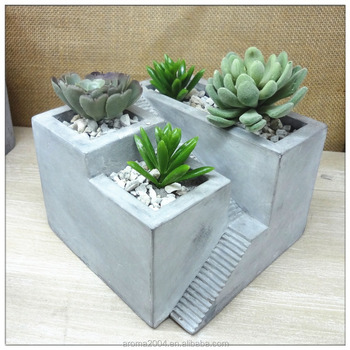 cement pot tabletop concrete succulent planter