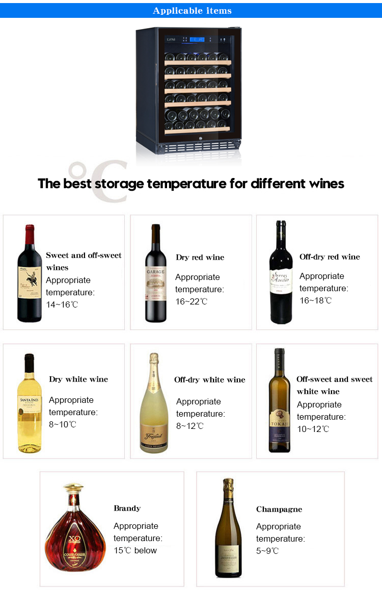 LVNI table top vertical electric wooden shelves dual-zone wine champagne cellar cooler chiller fridge with led