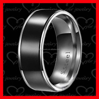 2016 Alibaba Hot Sale Cheap Wholesale Black Plated Men Stainless Steel Ring