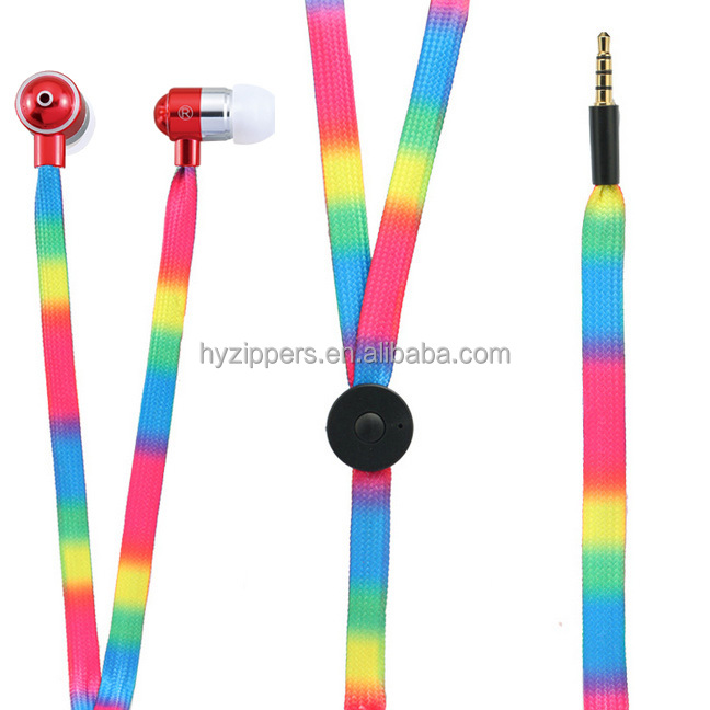 Round shaped mic colorfulflat cable shoelace earphone headphones