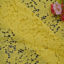 B8-1 yellow bulk stock lace fabric nylon and cotton fabric