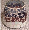 brown and black mosaic candle shade jars