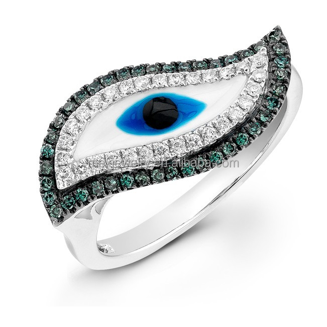 Unique Crystal Cubic Zirconia Blue Turkish Evil Eye .925 Sterling Silver Ring