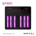 HOT selling 18650 battery pack charger Efest LUC V6 CE ROHS UL listed battery charger