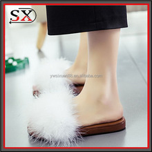 (Stock) Women Fur Slides 2017 Fashion Designers Women Platform Flat Sandals Sexy Fur Slippers Casual Woman