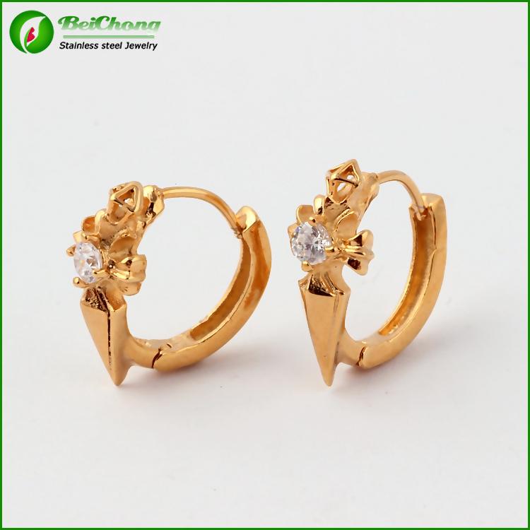 Dubai single stone gold stud earrings, View gold stud earrings ...