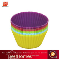 BS-Silicone Cake Mold Muffin Cupcake Baking Dishes Pan, Form to Bake Cake Dessert Decorating Tools Bakeware Kitchen Dining Bar