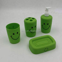 Plastic Green Bathroom Accessories Set