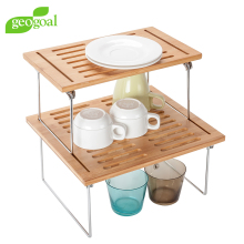 Bamboo Dish Drying Rack Kitchen Folding Table stackable shelves - L