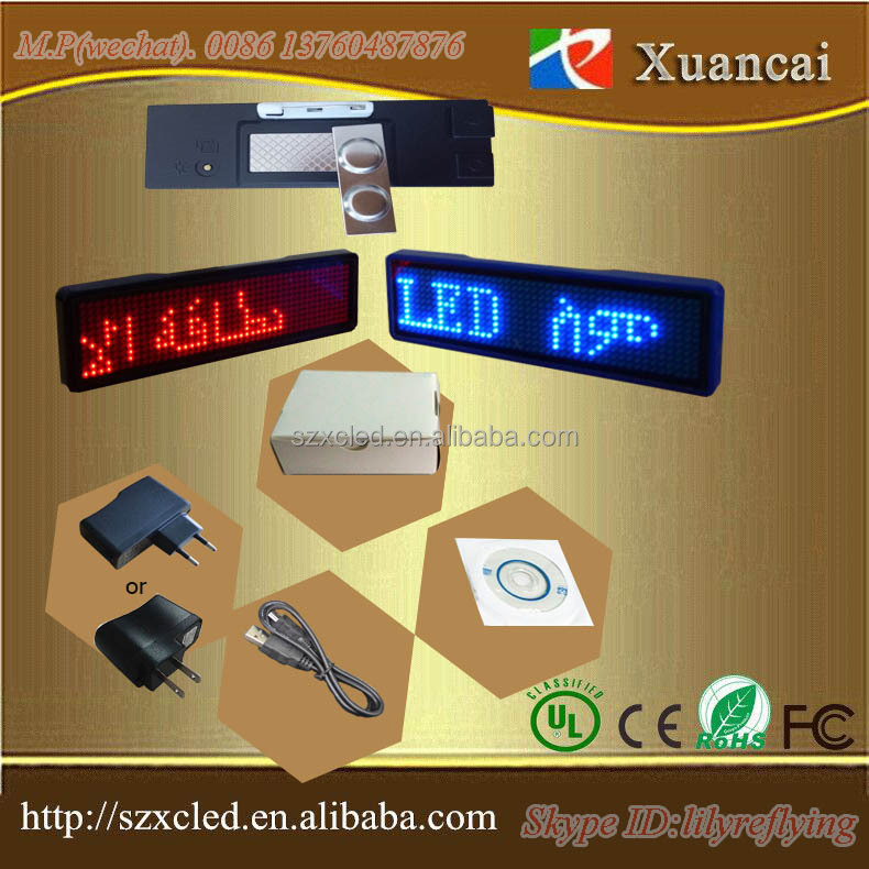 colorful frame emitting single color <strong>R</strong>/G/W/Y/B led scrolling message worldwide languages LED name Badge LED name Tag