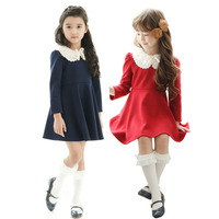 Fashion design small girls dress christmas long sleeve unique flower side collar style bowknot beaded girl puffy dress 1536