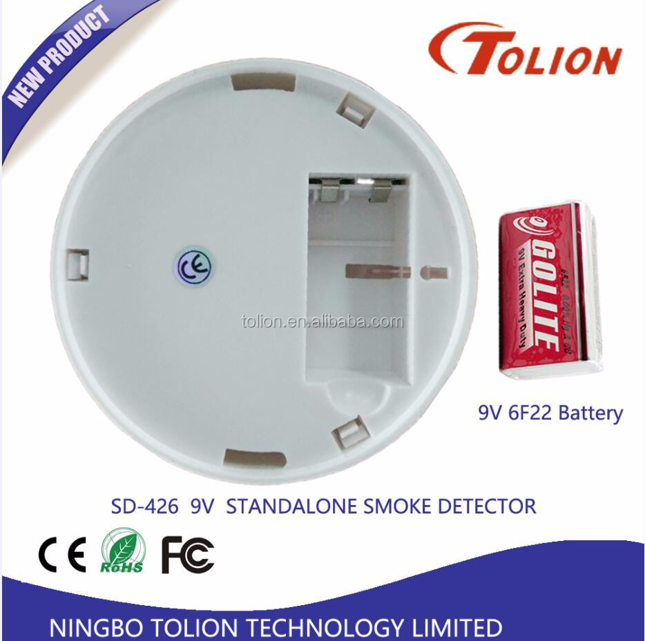 9V battery Stand Alone Cigarette Smoke Detector For Fire Alarm
