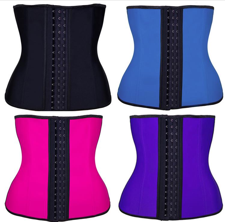 309ac46532 100% Latex Waist Trainer Corset 9 Steel Bone Shapewear Body Shapers Women  Corset Slimming Belt