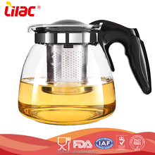 China promotional customized 750ml 1.25L 1.5L borosilicate Heat Resistant Glass handmade modern teapot kettle