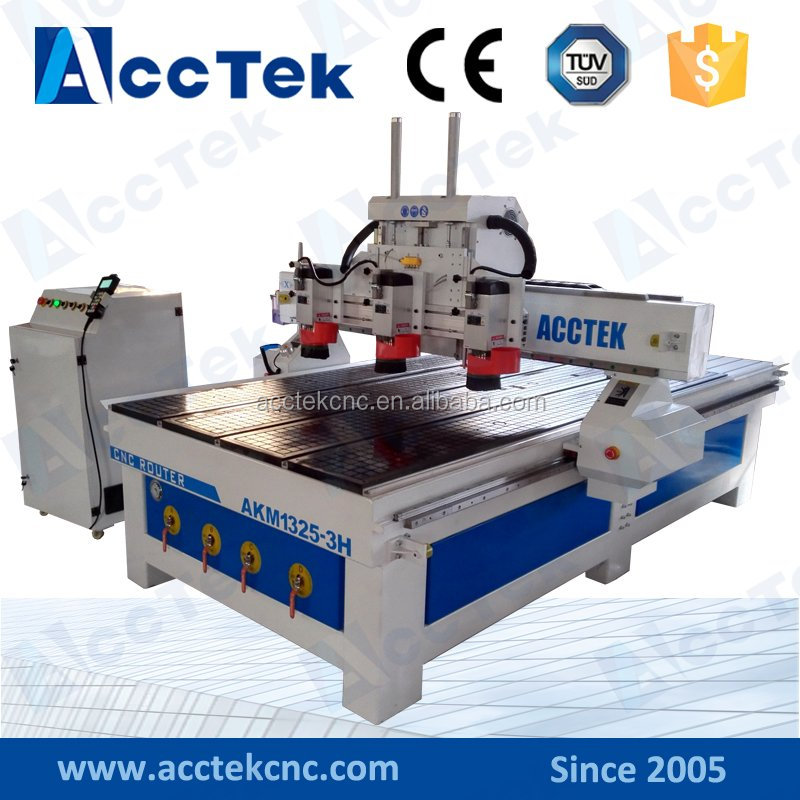Triple heads 3 spindle wood carving stone milling cnc router machine