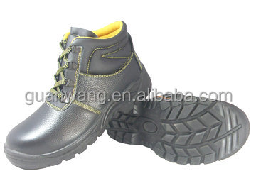 Mid -ankle black leather PU injection safety shoes boots with steel toe insert