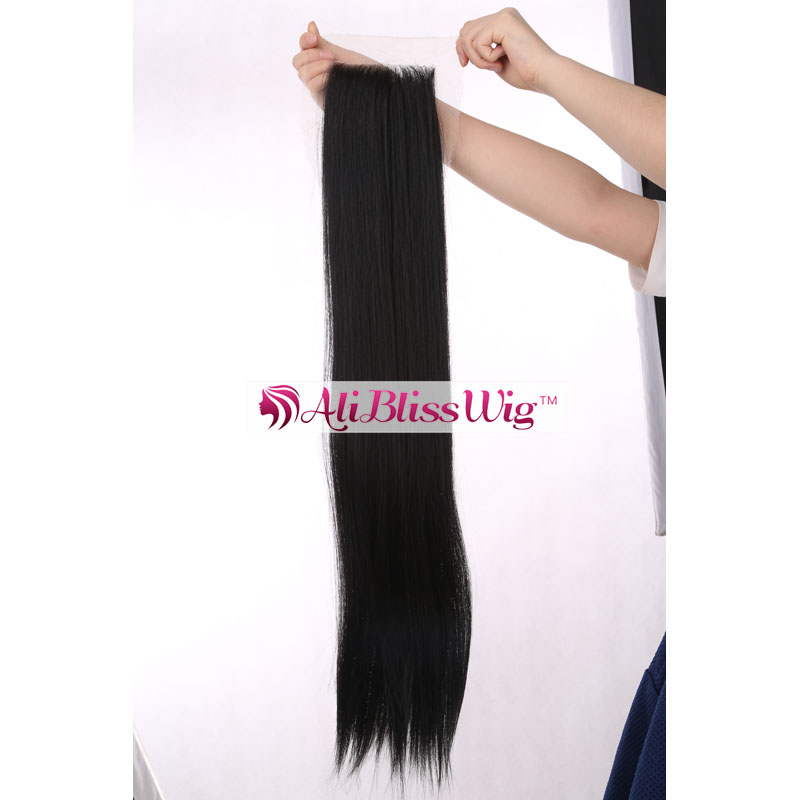 "22"" Long Straight Cheap Heat Resistant Japanese Fiber Hair 1B Natural Black Free Parting Synthetic Lace Closure for Black Women"