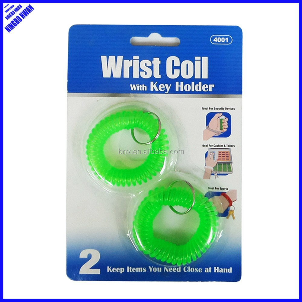 Cheap 5cm round plastic wrist coil key ring