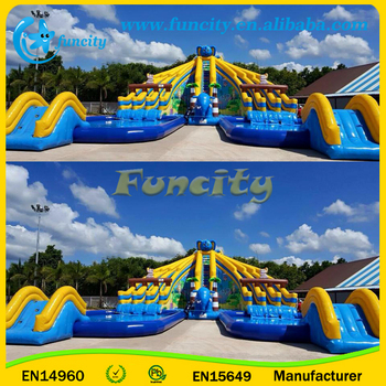 Elephant theme inflatable water slide park with inflatable swimming pools and slide