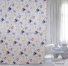 Ocean style custom shower curtain printed seagulls and sailing boats