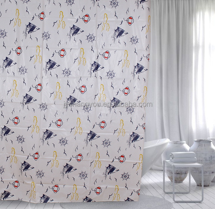 Ocean style shower curtains printed seagulls and sailing boats