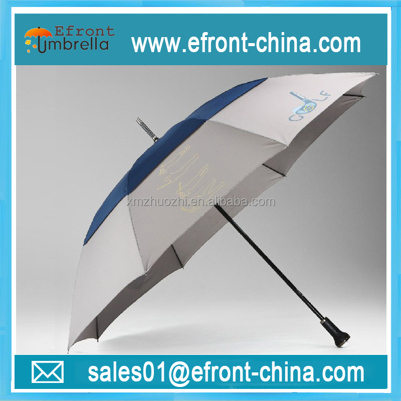 Double layer durable walking stick brand OEM golf umbrella