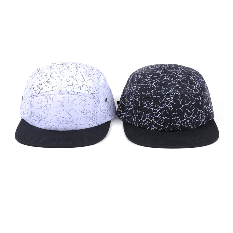 Plain blank all over print pattern Adjustable 5 Panel Camp Hats
