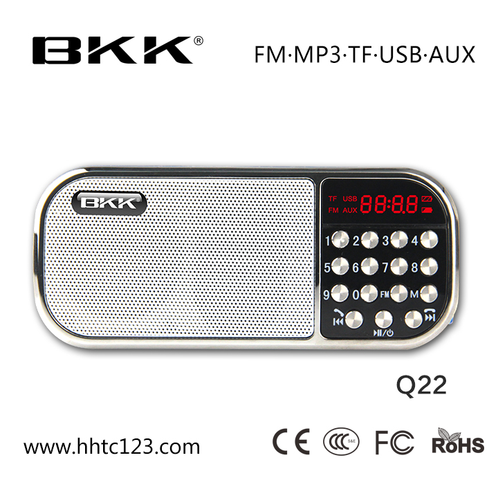 Fm radio built in Bluetooth speaker with rechargeable battery(Q22BT)