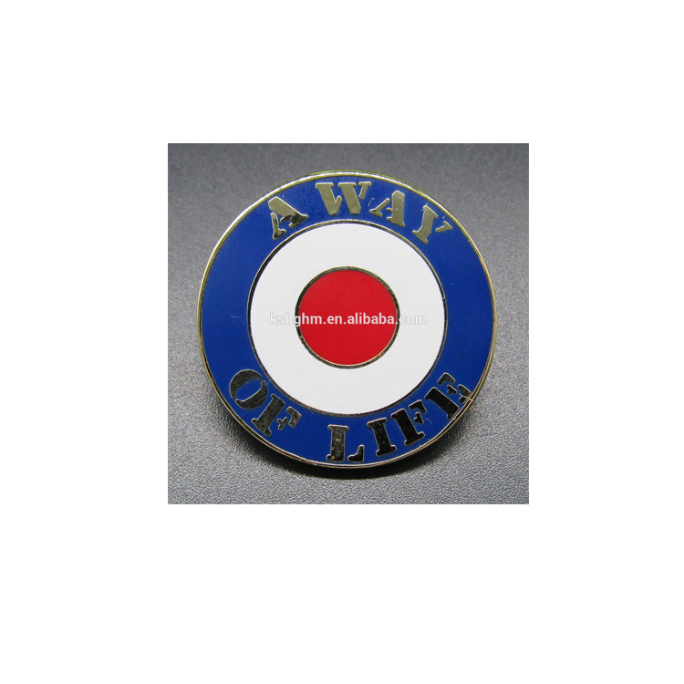 Factory wholesale metal imitation hard enamel badge with A WAY OF LIFE